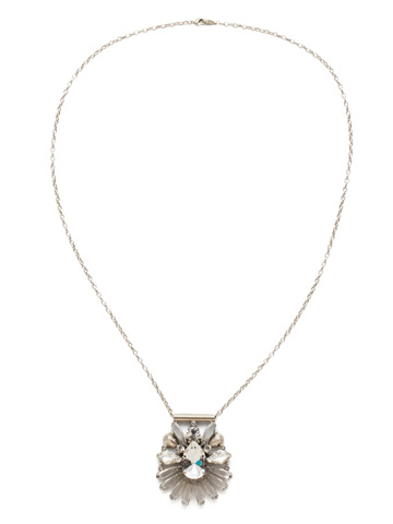 Radiant Gems Statement Pendant in Antique Silver-tone Crystal