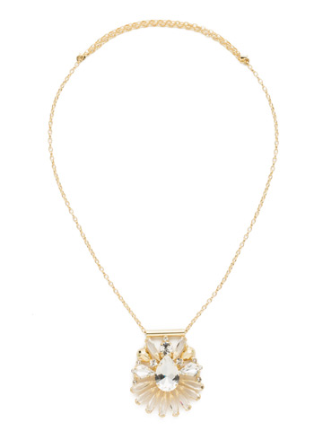 Radiant Gems Statement Pendant in Bright Gold-tone Crystal