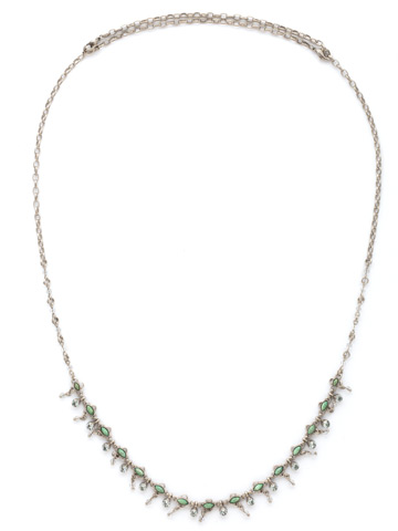 Fringe Benefits Long Strand Necklace in Antique Silver-tone Pebble Blue