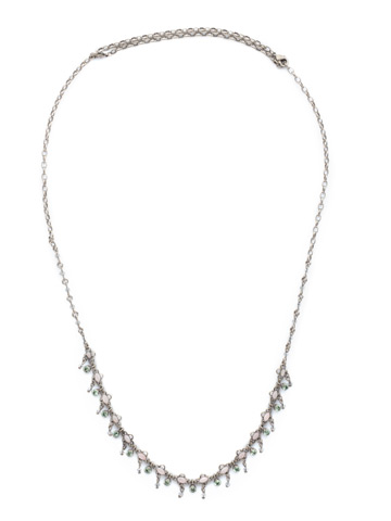 Fringe Benefits Long Strand Necklace in Antique Silver-tone Rainbow Quartz