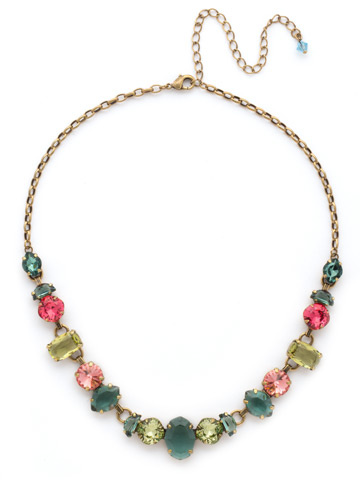 Socialite Statement Necklace in Antique Gold-tone Gem Pop