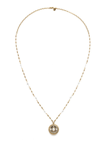 Majestic Medallion Pendant in Antique Gold-tone Crystal