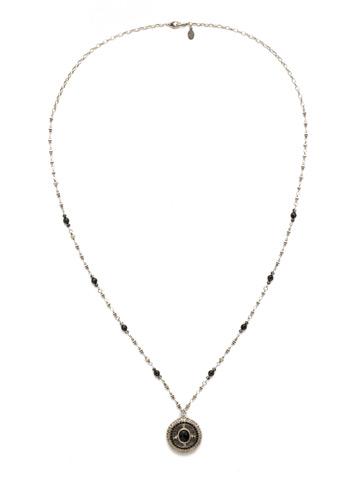 Majestic Medallion Pendant in Antique Silver-tone Black Onyx