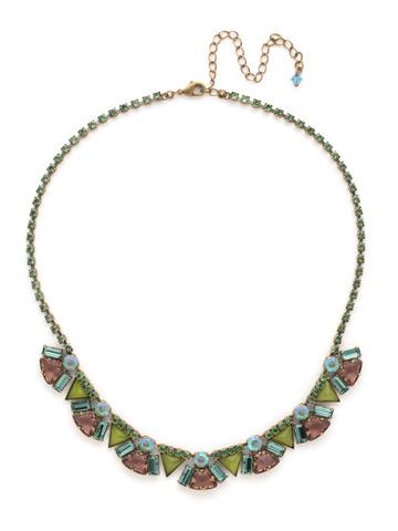 Mosaic Line Necklace in Antique Gold-tone Gem Pop