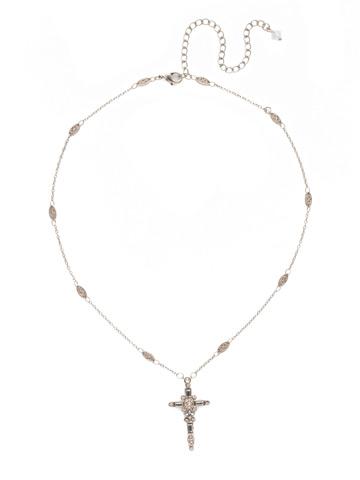 Delicate Cross Pendant Necklace in Antique Silver-tone Soft Petal