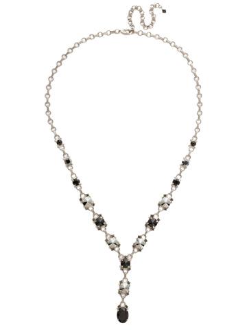Marigold Necklace in Antique Silver-tone Black Onyx