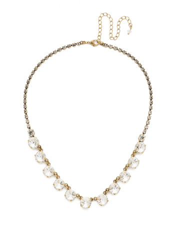 Simply Sophisticated Line Necklace in Antique Gold-tone Crystal