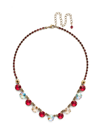 Simply Sophisticated Line Necklace in Antique Gold-tone Go Garnet