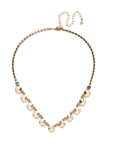 Simply Sophisticated Line Necklace in Antique Gold-tone Neutral Territory
