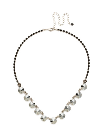 Simply Sophisticated Line Necklace in Antique Silver-tone Black Onyx