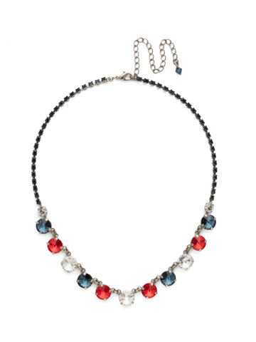 Simply Sophisticated Line Necklace in Antique Silver-tone Battle Blue
