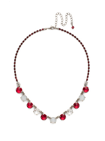 Simply Sophisticated Line Necklace in Antique Silver-tone Crimson Pride