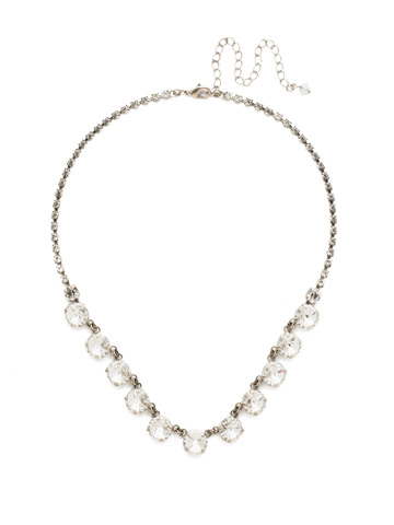Simply Sophisticated Line Necklace in Antique Silver-tone Crystal