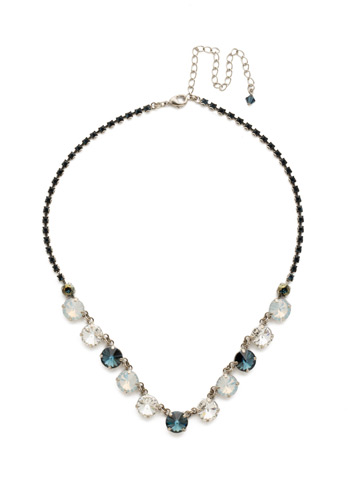 Simply Sophisticated Line Necklace in Antique Silver-tone Glory Blue