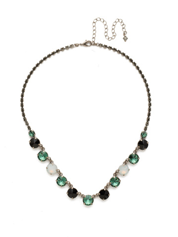 Simply Sophisticated Line Necklace in Antique Silver-tone Game Day Green
