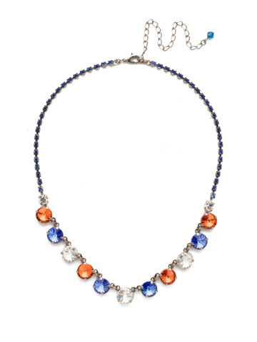 Simply Sophisticated Line Necklace in Antique Silver-tone Orange Crush