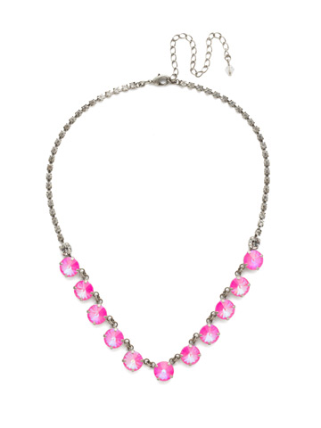 Simply Sophisticated Line Necklace in Antique Silver-tone Pink Mutiny