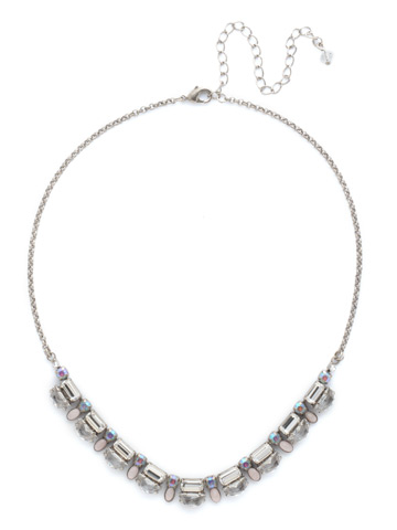 Designed Details Necklace in Antique Silver-tone Rainbow Quartz
