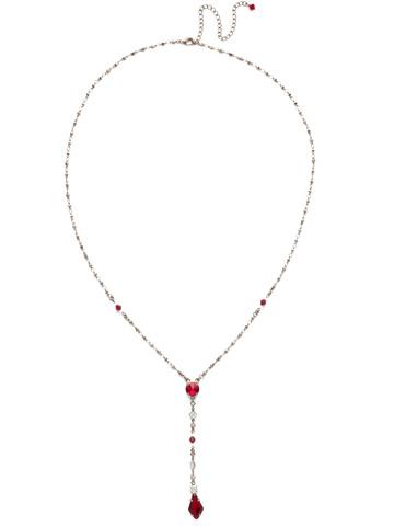 Regal Rhombus Y Necklace in Antique Silver-tone Crimson Pride