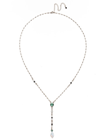 Regal Rhombus Y Necklace in Antique Silver-tone Game Day Green