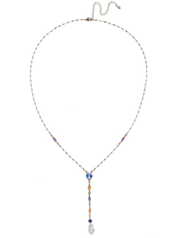 Regal Rhombus Y Necklace in Antique Silver-tone Orange Crush