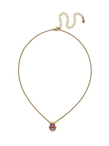 Sidney Necklace in Antique Gold-tone Fuschia