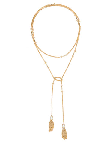All Tied Up Necklace in Bright Gold-tone Crystal