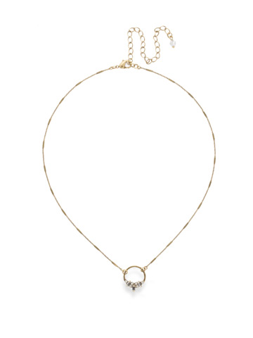 Haute Hammered Necklace in Antique Gold-tone Crystal