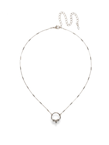 Haute Hammered Necklace in Antique Silver-tone Crystal