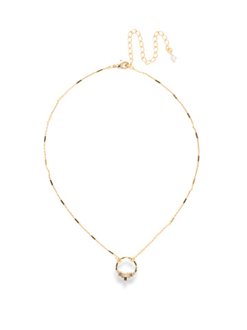 Haute Hammered Necklace in Bright Gold-tone Crystal