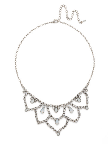 Interlacing Crystal Bib Necklace in Antique Silver-tone White Bridal