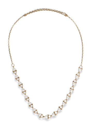 Tri Again Crystal Necklace in Antique Gold-tone Crystal