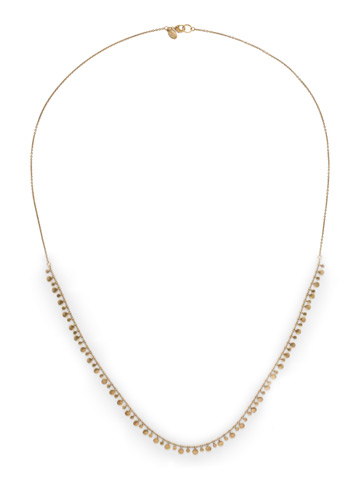 Long Mini Medallions Necklace in Antique Gold-tone Crystal