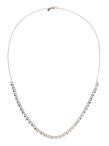 Long Mini Medallions Necklace in Antique Silver-tone Crystal