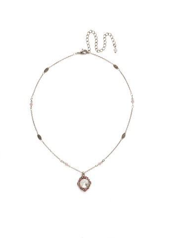 Runaround Necklace in Antique Silver-tone Crystal Rose