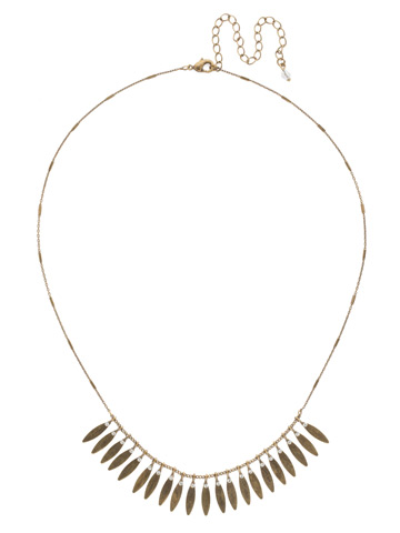 Feathered Fringe Necklace in Antique Gold-tone Crystal