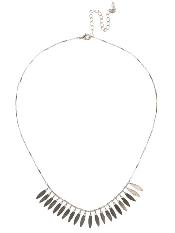 Feathered Fringe Necklace in Antique Silver-tone Crystal