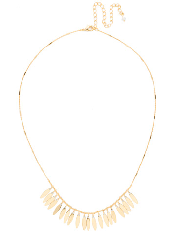 Feathered Fringe Necklace in Bright Gold-tone Crystal