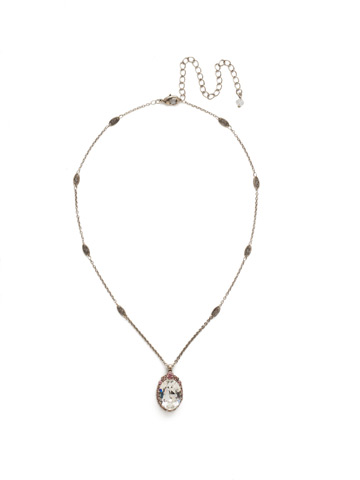 Outright Oval Necklace in Antique Silver-tone Crystal Rose