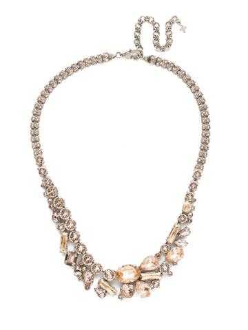 Muscari Necklace in Antique Silver-tone Satin Blush