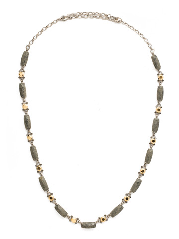 Rock Solid Necklace in Antique Silver-tone Modern Metallic