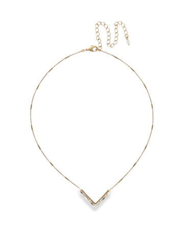Crystal Chevron Necklace in Antique Gold-tone Crystal