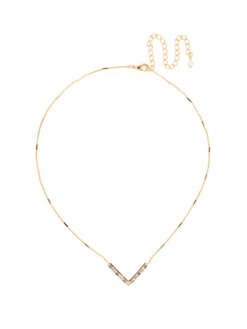 Crystal Chevron Necklace in Bright Gold-tone Crystal