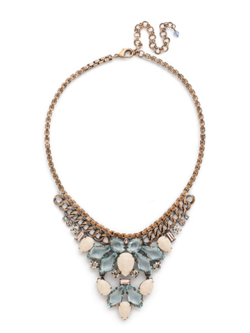 Cascading Crystals Statement Necklace in Antique Gold-tone Coastal Mist