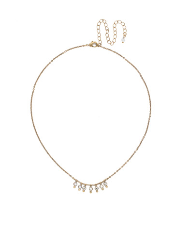 Delicate Dots Necklace in Antique Gold-tone Crystal