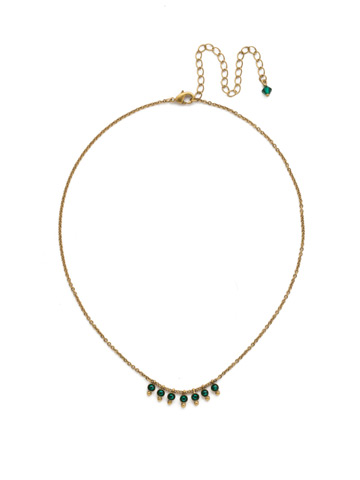Delicate Dots Necklace in Antique Gold-tone Emerald