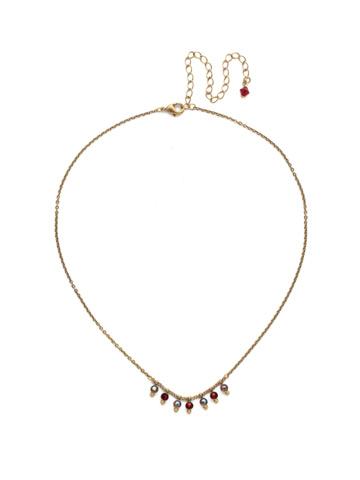 Delicate Dots Necklace in Antique Gold-tone Go Garnet