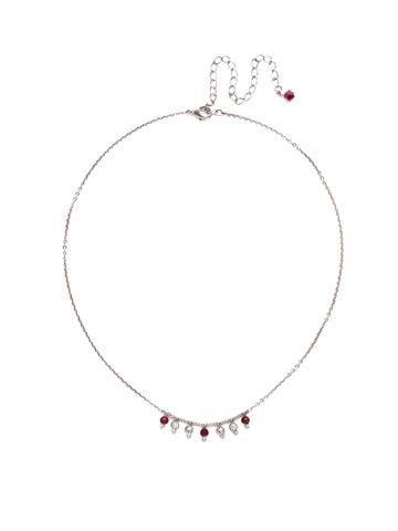 Delicate Dots Necklace in Antique Silver-tone Crimson Pride