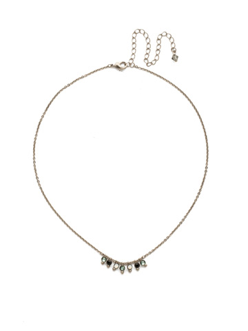 Delicate Dots Necklace in Antique Silver-tone Game Day Green