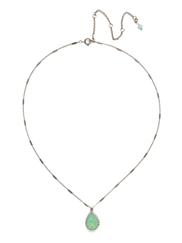 Simply Adorned Pendant in Antique Silver-tone Pacific Opal